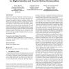 A game theoretic model for digital identity and trust in online communities