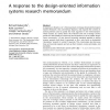A response to the design-oriented information systems research memorandum