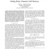 Achievable rates and training optimization for fading relay channels with memory