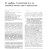 An Algebraic Programming Style for Numerical Software and its Optimization