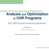 Analysis and Optimization of CHR Programs