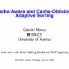 Cache-Aware and Cache-Oblivious Adaptive Sorting