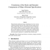 Consistency of the static and dynamic components of object-oriented specifications
