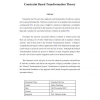 Constraint Based Transformation Theory