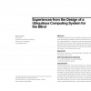 Experiences from the design of a ubiquitous computing system for the blind