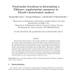 Fixed-point iterations in determining a Tikhonov regularization parameter in Kirsch's factorization method