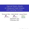 Improved Generic Attacks on Unbalanced Feistel Schemes with Expanding Functions