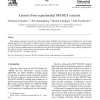 Lessons from experimental MANET research