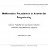 Mathematical Foundations of Answer Set Programming