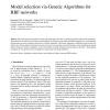 Model selection via Genetic Algorithms for RBF networks