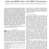Multi-Antenna Communication in Ad Hoc Networks: Achieving MIMO Gains with SIMO Transmission