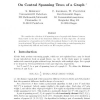 On Central Spanning Trees of a Graph