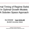 Optimal timing of regime switching in optimal growth models: A Sobolev space approach
