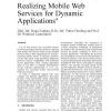 Realizing Mobile Web Services for Dynamic Applications