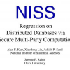 Regression on Distributed Databases via Secure Multi-Party Computation