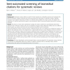 Semi-automated screening of biomedical citations for systematic reviews
