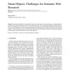 Smart objects: Challenges for Semantic Web research
