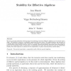Stability for Effective Algebras