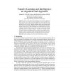 Transfer Learning and Intelligence: an Argument and Approach