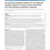 Uncovering packaging features of co-regulated modules based on human protein interaction and transcriptional regulatory networks