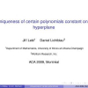 Uniqueness of certain polynomials constant on a hyperplane