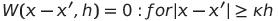 """""""W(x-x',h)=0"""